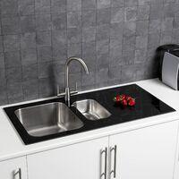 Stainless Steel Kitchen Sink 1.5 Bowl Black Glass Surround RH