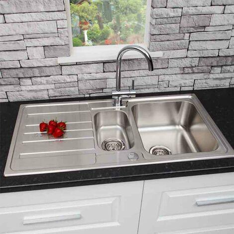 Stainless Steel Kitchen Sink 1.5 Bowl Reversible FREE Waste & Tap