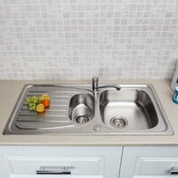Stainless Steel Kitchen Sink 1.5 Bowl Reversible Waste+Mixer Tap