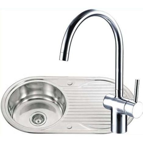 Stainless Steel Kitchen Sink & Drainer & A Side Lever Chrome Mixer Tap (KST002)