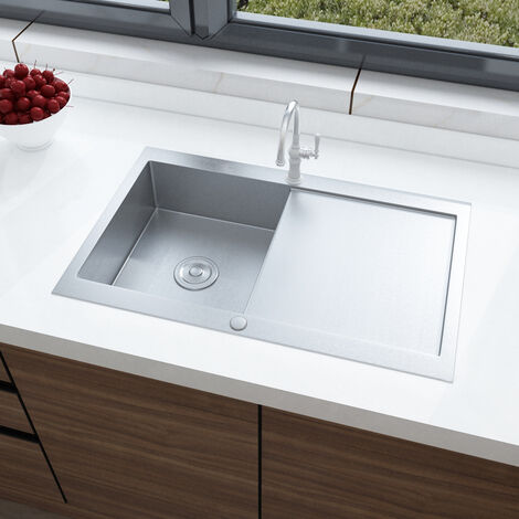 Stainless Steel Kitchen Sink Handmade 1.5 Bowl Drainer Waste Kits