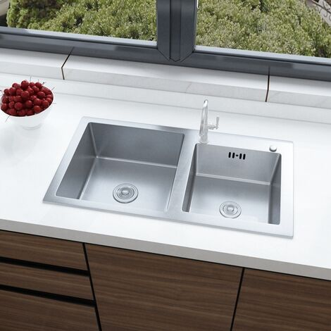 Stainless Steel Kitchen Sink Handmade Double Bowl Drainer Waste Kits
