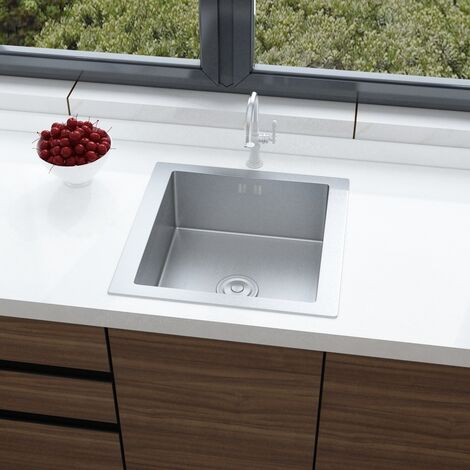 """main image of """"Stainless Steel Kitchen Sink Handmade Single Bowl Drainer Waste Kits"""""""