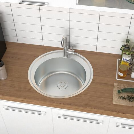 Stainless Steel Kitchen Sink Home Single Bowl With Waste Plumbing Kit + Drainer