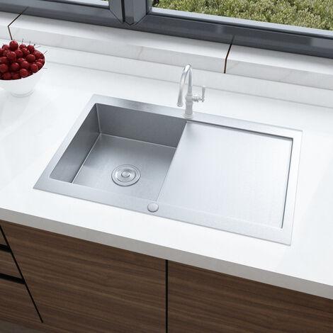 Stainless Steel Kitchen Sink Single Basin Silver