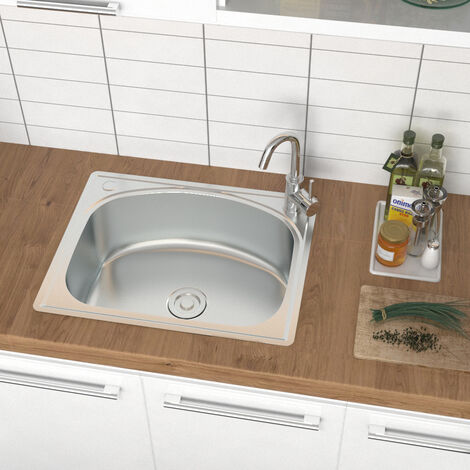 Stainless Steel Kitchen Sink Single Bowl Laundry Catering Topmount Square