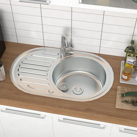 Stainless Steel Kitchen Sink Single Bowl Modern Catering Topmount Round