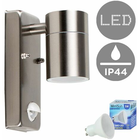 Stainless Steel Outdoor Garden Wall Down Light with PIR Motion Sensor IP44 Rated - 5W LED GU10 Bulb - Warm White - Silver