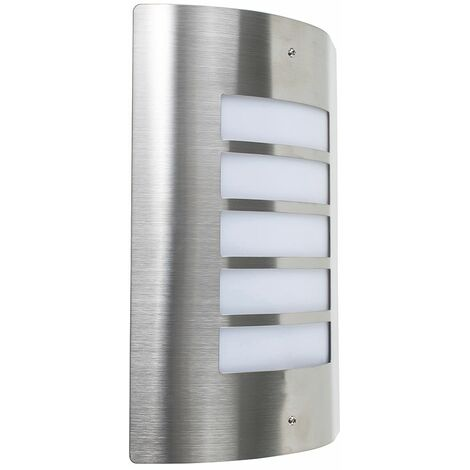 Stainless Steel Outdoor Security Bulkhead Wall Light Patio Garden - Silver