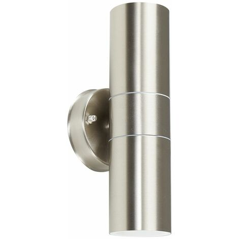 Stainless Steel Outdoor Up/Down Wall Light - No Bulb - Silver