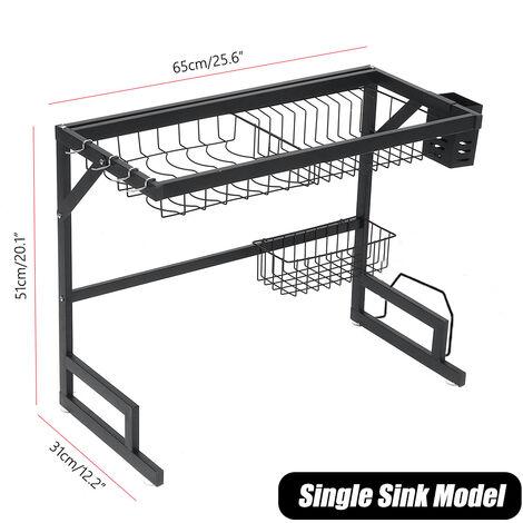 Stainless Steel Over Single Sink Dish Drying Rack 65¡Á31¡Á51cm black Bowl Shelf Kitchen Holder