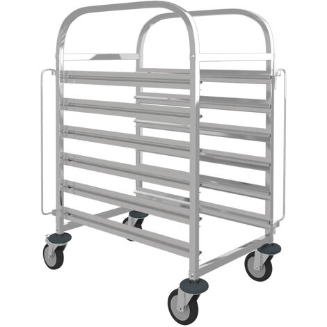 Stainless Steel Racking Trolley 6 Levels Catering Tray Rack Slot Shelving