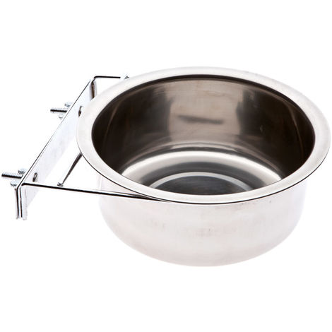 Stainless steel round bowl with plate and screws to be hung on wooden dog kennels Ferribiella