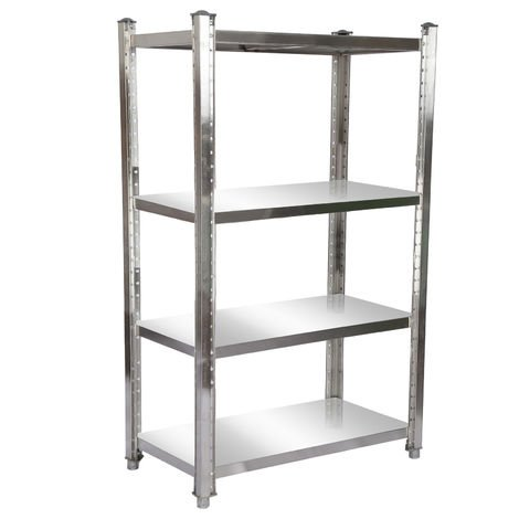 Stainless Steel Shelf 120x50x155cm with 4 Shelf Boards for Restaurants, Catering Services, Garages