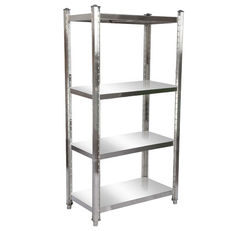 Stainless Steel Shelf 90x50x155cm with 4 Shelf Boards for Restaurants, Catering Services, Garages