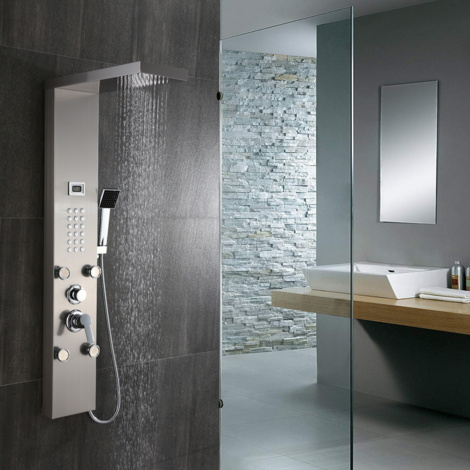 Stainless Steel Shower Panel, Column Tower, Shower System with 3 Functions, Hydromassage and Waterfall Shower, with LCD Screen