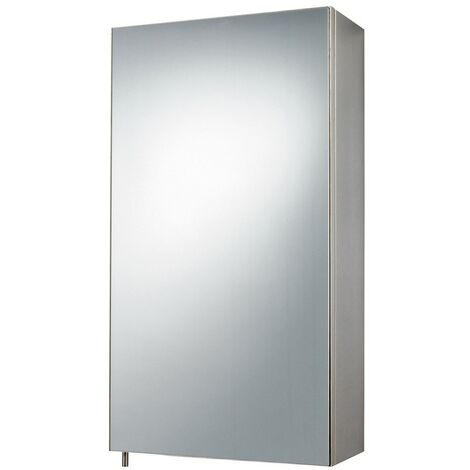 Stainless Steel Single Door Mirror Cabinet 300mm x 550mm x 140mm