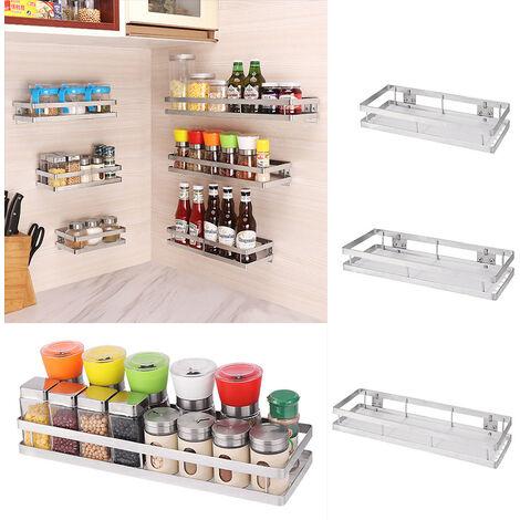 Stainless Steel Storage Shelf Kitchen Spice Bottle Jars Bathroom Rack Organizer