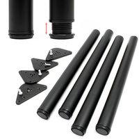Stainless steel Table legs set of 4 Black Furniture foot adjustable Ø60mm 820mm