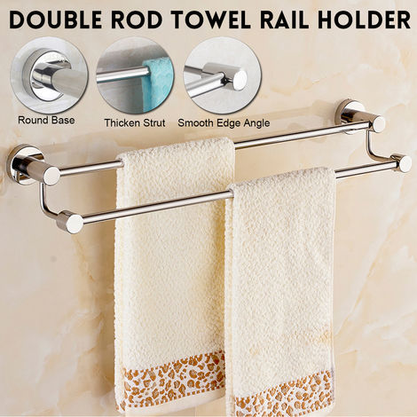 Stainless Steel Towel Rack Double Wall Mount Chrome Bathroom Rack