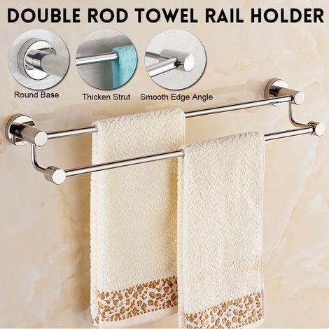 Stainless Steel Towel Rack Double Wall Mount Chrome Bathroom Rack Hasaki