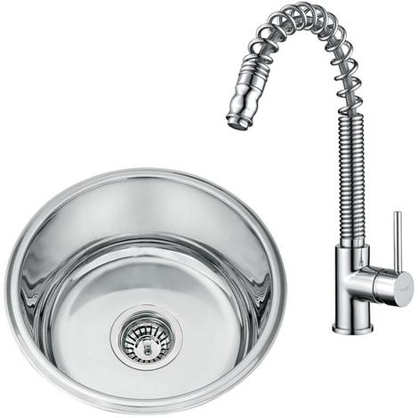 Stainless Steel Under Mount Kitchen Sink & Sprung Pull Out Mixer Tap (KST062)