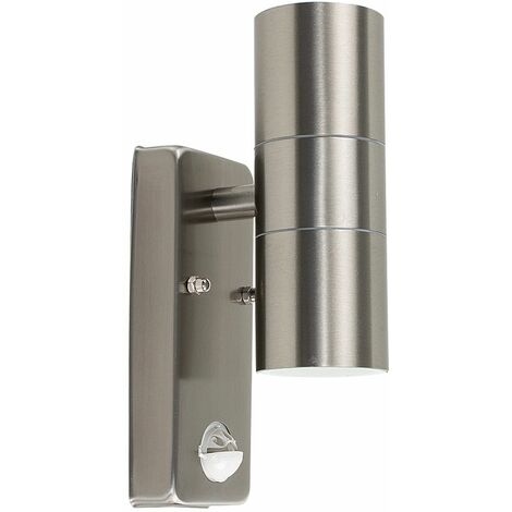 Stainless Steel Up / Down Outdoor Security Wall Light - Pir Motion Sensor - Ip44 - Silver