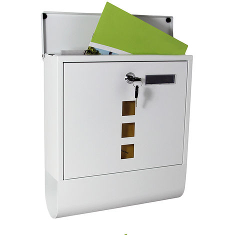 Stainless steel wall letterbox + name plate White letterbox Newspaper compartment Key