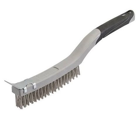 Stainless Steel Wire Brush with Scraper - 3 Row