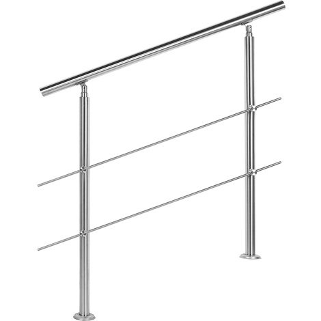 Handrail Stainless Steel 2 Cross Bars 80cm Balustrade Stair Staircase Rail