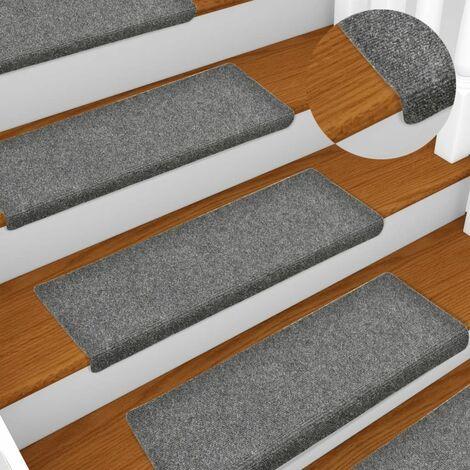 Stair Mats 15 pcs Needle Punch 65x25 cm Light Grey - Grey