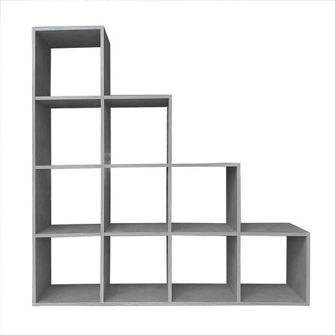 Staircase shelf Room divider Bookcase Standing shelf Step shelf Concrete grey 10 shelves