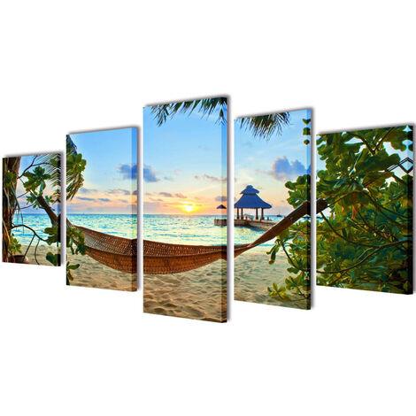 Stampa su Tela da Muro Spiaggia di Sabbia con Amaca 100x50 cm