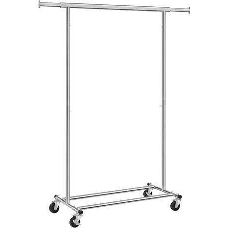 Stand Appendiabiti Portabiti Metallico Cromato Carico Massimo 90kg con Rotelle Qualità Industriale Lunghezza: 92-132cm HSR13S