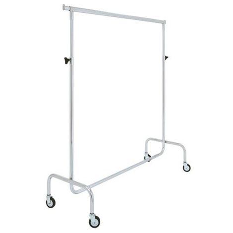 Stand Stender appendiabiti in acciaio cromato, Carrello con Ruote, altezza fissa o regolabile [Taglia - S]