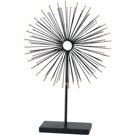 Stand Tisch Figur Wohn Zimmer Deko Sonnen Steh Skulptur Stäbe schwarz-gold rund