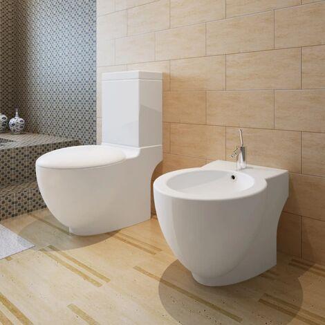 Stand Toilet & Bidet Set White Ceramic - White