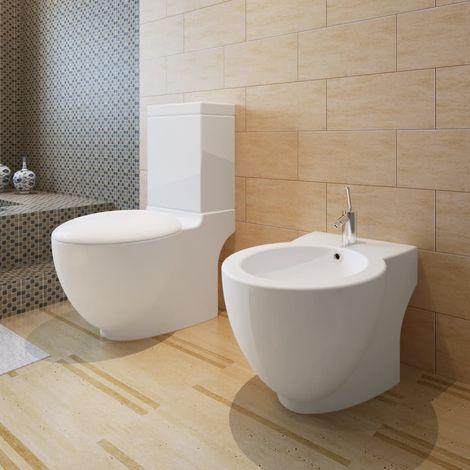 Stand-Toilette/WC+Soft WC Sitz+Stand-Bidet Bodenstehend weiß VD14772