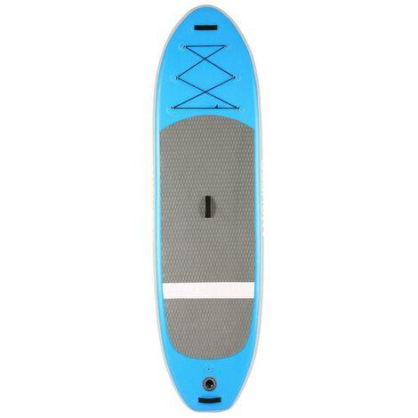 Stand Up Paddle gonflable Board iSUP en PVC 305 x 81 x 15 cm avec pompe à main+ sac à dos - Bleu - Bleu