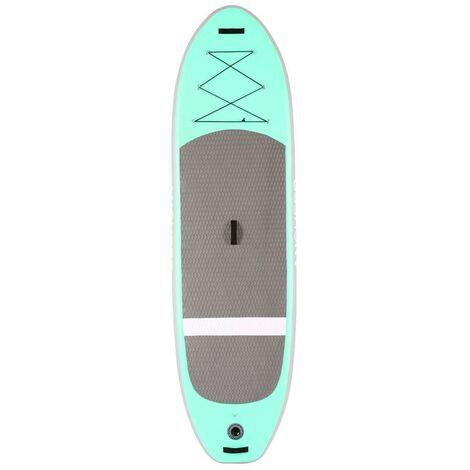 Stand Up Paddle gonflable Board iSUP en PVC 305 x 81 x 15 cm avec pompe à main+ sac à dos - Vert - Gris