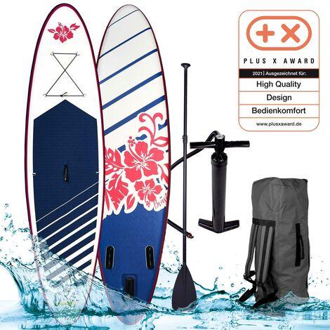 Stand Up Paddle gonflable 'Hibiskus' 9`10 20psi 115kg Drop stitch tissé kit complet – planche gonflable SUP 300x76x15cm de BRAST