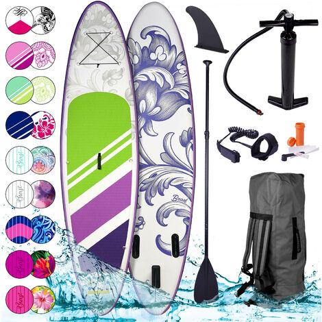 Stand Up Paddle gonflable 'Lily' 9`10 20psi 115kg Drop stitch tissé kit complet – planche gonflable SUP 300x76x15cm de BRAST