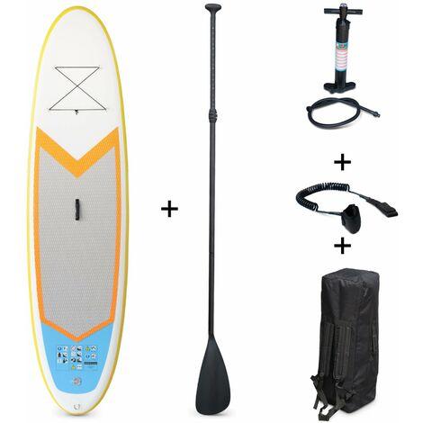 """Stand Up Paddle Gonflable – Nico 9'9"""" - 15cm d'épaisseur - Pack stand up paddle gonflable (SUP) avec pompe haute pression double action pagaie leash et sac de rangement"""