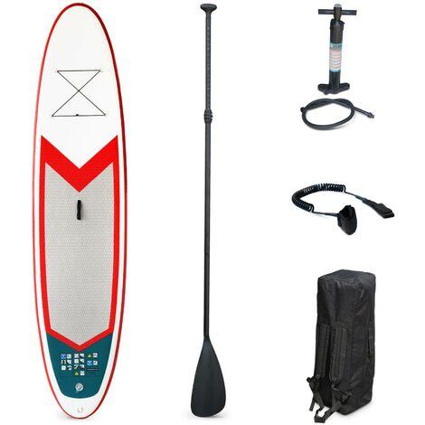 "Stand Up Paddle Gonflable – Pablo 10'10"" - 15cm d'épaisseur - Pack stand up paddle gonflable (SUP) avec pompe haute pression double action pagaie leash et sac"