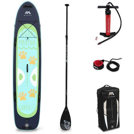 """Stand Up Paddle Gonflable - Super Trip 12'2"""" - Familial 15cm d'épaisseur - Pack stand up paddle gonflable (SUP) avec pompe haute pression double action pagaie leash et sac"""