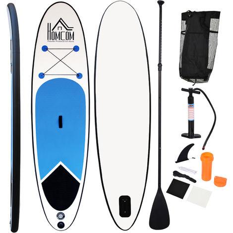 Stand up paddle gonflable surf planche de paddle pour adulte dim. 301L x 76l x 10H cm nombreux accessoires fournis PVC bleu blanc noir