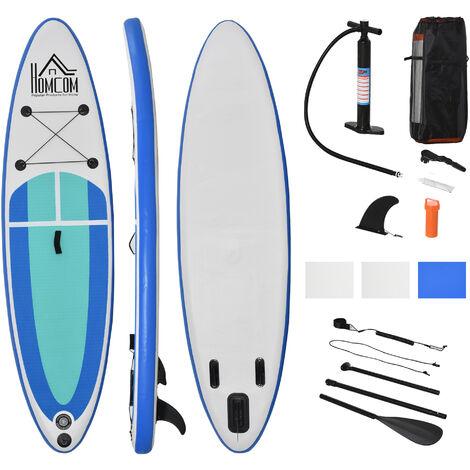 Stand up paddle gonflable surf planche de paddle pour adulte dim. 305L x 75l x 15H cm nombreux accessoires fournis PVC