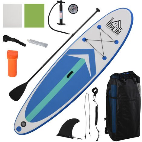 Stand up paddle gonflable surf planche de paddle pour adulte dim. 320L x 80l x 15H cm nombreux accessoires fournis PVC