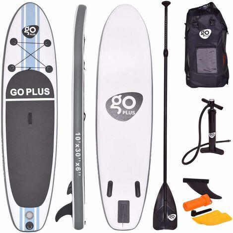 Stand Up Paddle Gonflable305x76x15cm avec Accessoires Pagaie,Pompe Haute PressionKit de Réparation,Leash, Aileron Amovible Sac de Transport