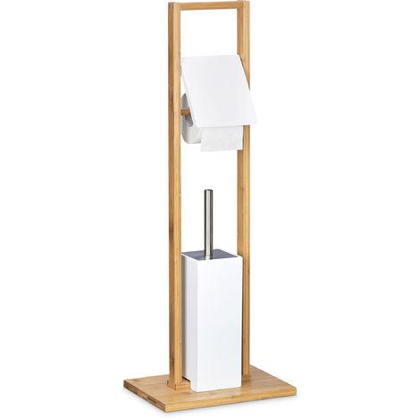 Stand WC Garnitur aus Bambus, Bürstenhalter m. Toilettenbürste u. Rollenhalter, freistehende Garnitur, natur